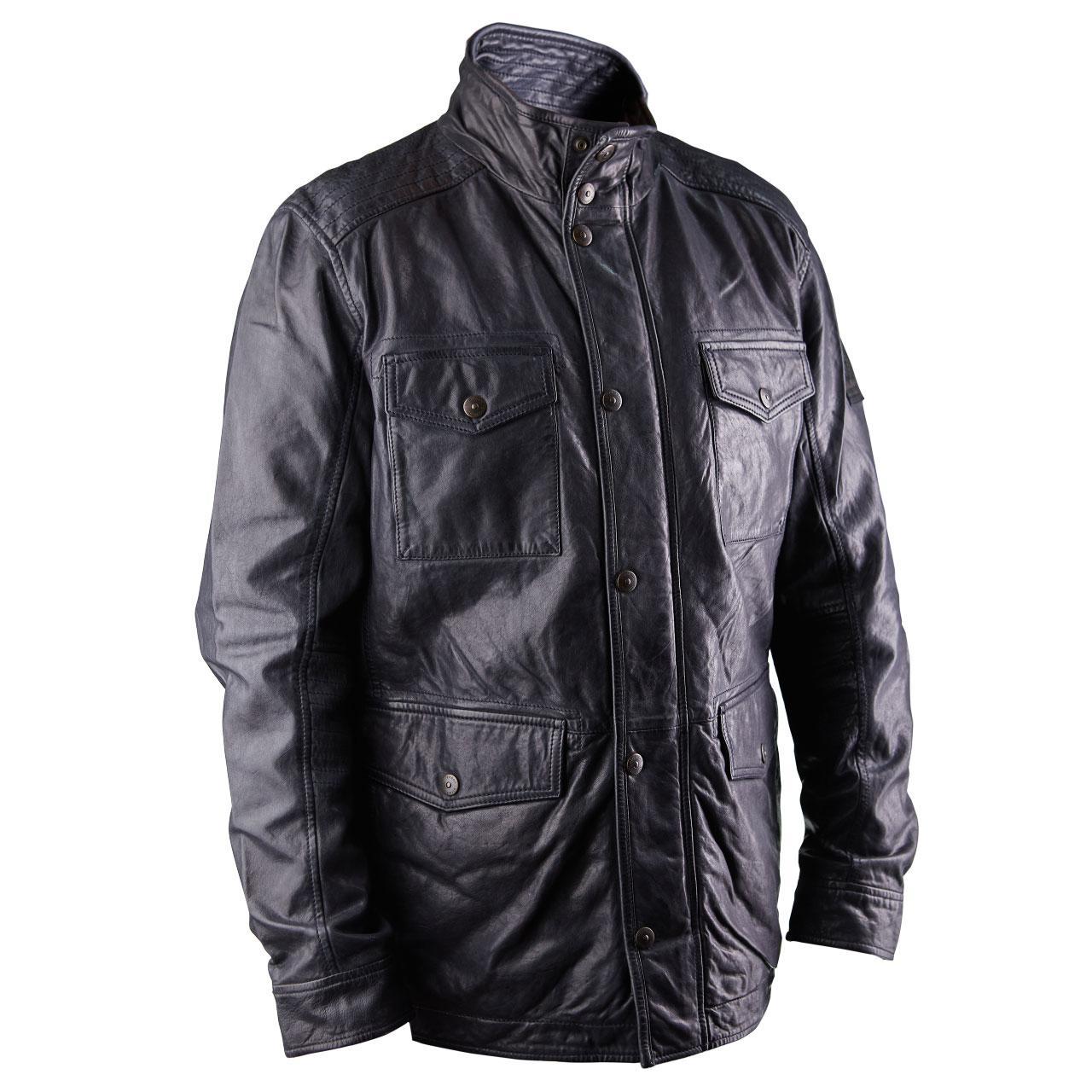 Мужская кожаная куртка S.C.Lexington темно-синяя