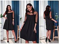 Платье вставка сетка  БАТАЛ в расцветках 757154