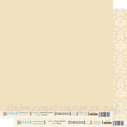 """Лист бумаги для скрапбукинга """"Бисквит"""" , коллекция """"Шебби Шик Базовая"""", 30 на 30 плотность 190 гр"""