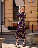 Летнее платье миди за колено с шелка Армани, (48-50рр), принт цветы на фиолетовом, фото 2