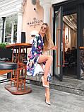 Легкое летнее платье на запах, (48-50рр), миди, за колено, принт красные пионы на синем, фото 3