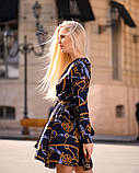 Стильное летнее платье, (40-46рр), принт цепи на темно-синем, фото 3