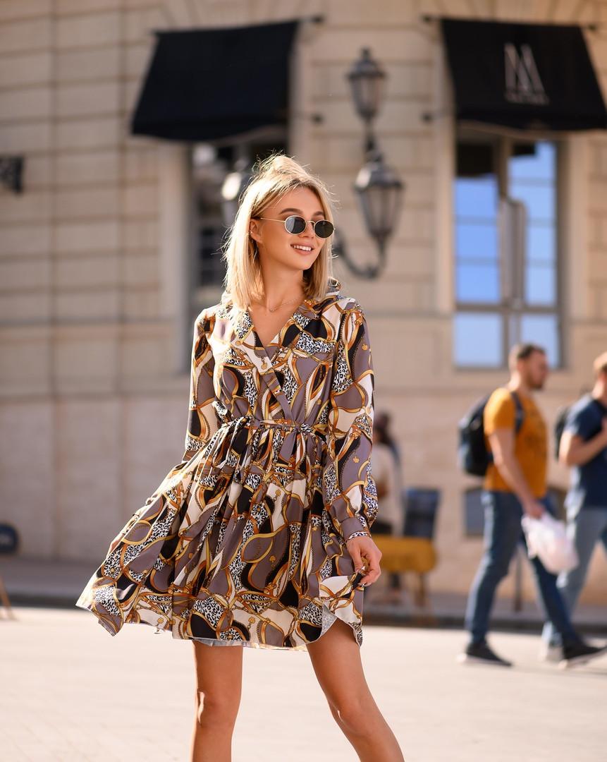 Стильное летнее платье, (40-46рр), принт цепи абстракция
