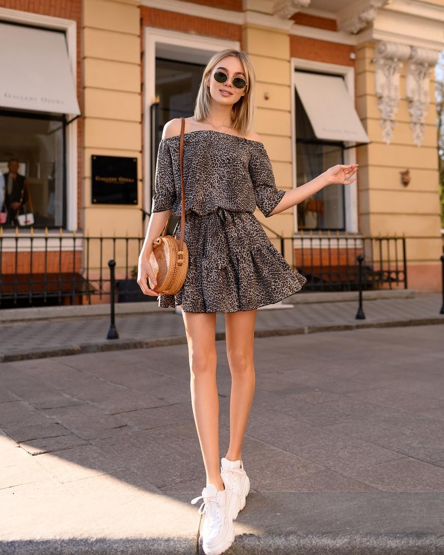Стильное летнее платье, (40-46рр), принт лео темный