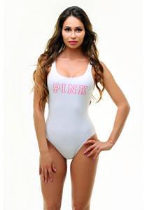 Спортивний злитий білий купальник з написом PINK розмір XS, M ПОЛЬЩА