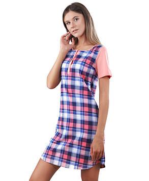 Яскрава нічна сорочка в клітку (розміри XS-2XL)