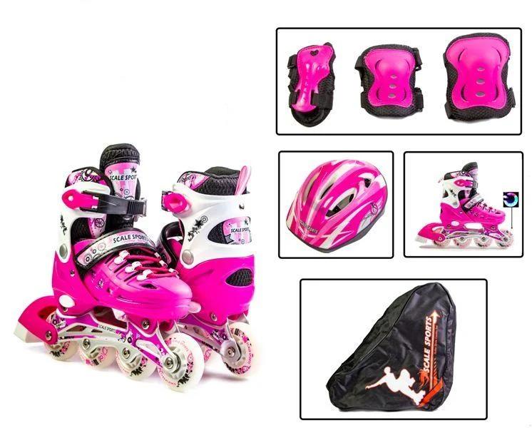 Комплект роликов раздвижных Scale Sport розовый, размер 29-33
