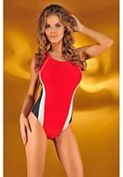 Спортивный слитный купальник Мила красно-черный размер ХS, S ПОЛЬША