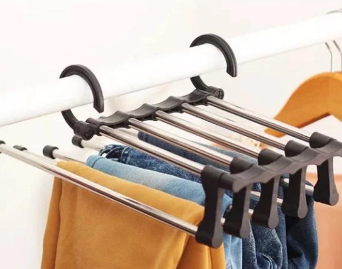 Вешалка для брюк new rack metal | Тремпель для штанов 5 в 1 | Плечики для одежды, фото 7
