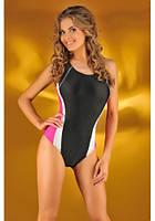Спортивный слитный купальник Мила черно-розовый размер М ПОЛЬША