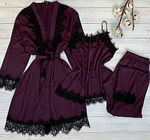 Шелковая пижама штаны и майка L-XL баклажан