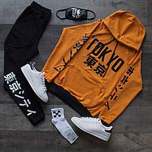 Спортивный костюм мужской черный с оранжевым худи сезон весна/лето (весенний) с принтом Япония (иероглифы)