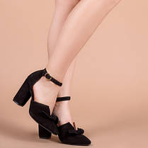 Туфли женские с закрытым носком на каблуке ремешком и бантом размеры 36-40, фото 2