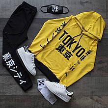 Спортивный костюм мужской черный с желтым худи сезон весна/лето (весенний) с принтом Япония (иероглифы)