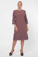 Женское платье с длинным рукавом нарядное большого размера 50-58 р шоколад цвет