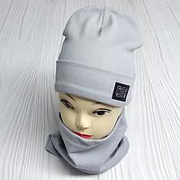 """М 4565. Комплект  трикотажный шапка + хомут для мальчиков """"ОЭ"""" 3-8 лет, разные цвета, фото 1"""