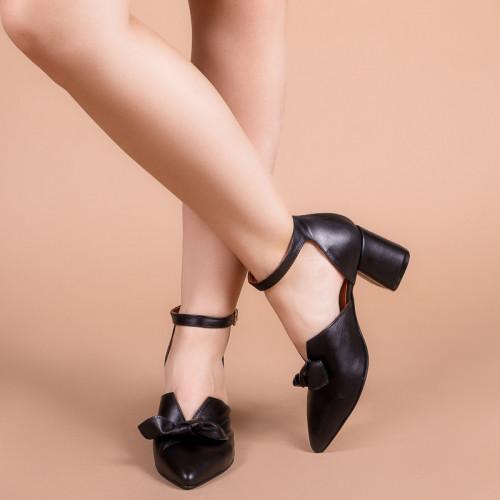Туфли женские с закрытым носком на каблуке ремешком и бантом размеры 36-41