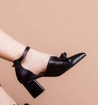 Туфли женские с закрытым носком на каблуке ремешком и бантом размеры 36-41, фото 3