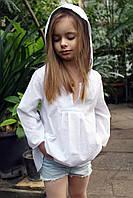 Туника с капюшоном белая (152 - 158) - пляжная одежда для детей, туники, панамы, рубашки