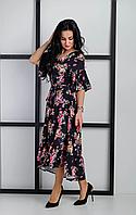 Женское платье с широкой рюшей и ярким цветочным принтом ткани, фото 1