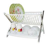 🔝 Сушилка для посуды настольная двухъярусная складная подставка-сушка для посуды Folding Rack Kithen пластиковая | 🎁%🚚