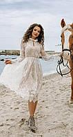 Белое кружевное платье на длинный рукав (S, M, L, XL)