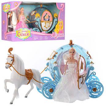 Игровой набор Кукла в наряде принцессы и лошадка с каретой 28903A