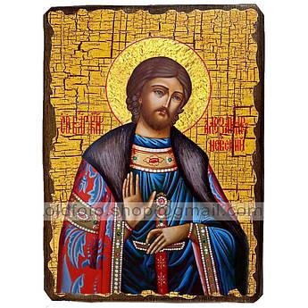 Икона Александр Святой Благоверный Князь Невский ,икона на дереве 130х170 мм