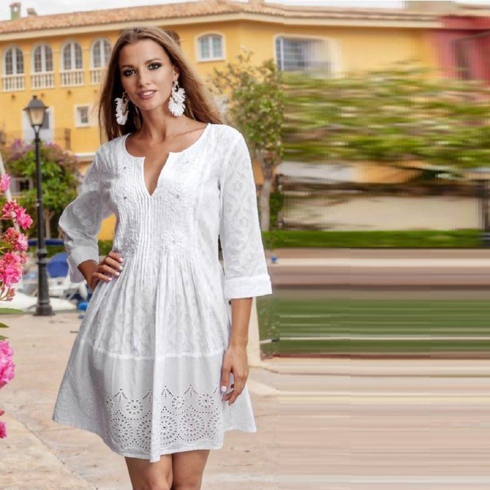 Летнее  женское платье-туника   из  натурального хлопка  1363