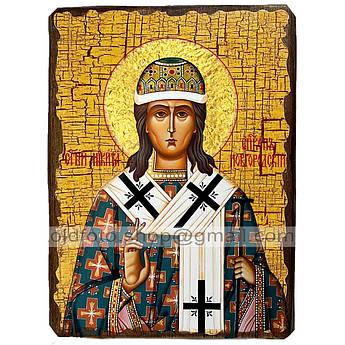 Икона Никита Новгородский ,икона на дереве 130х170 мм