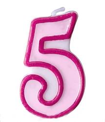 Свеча цифра розовый кант 5