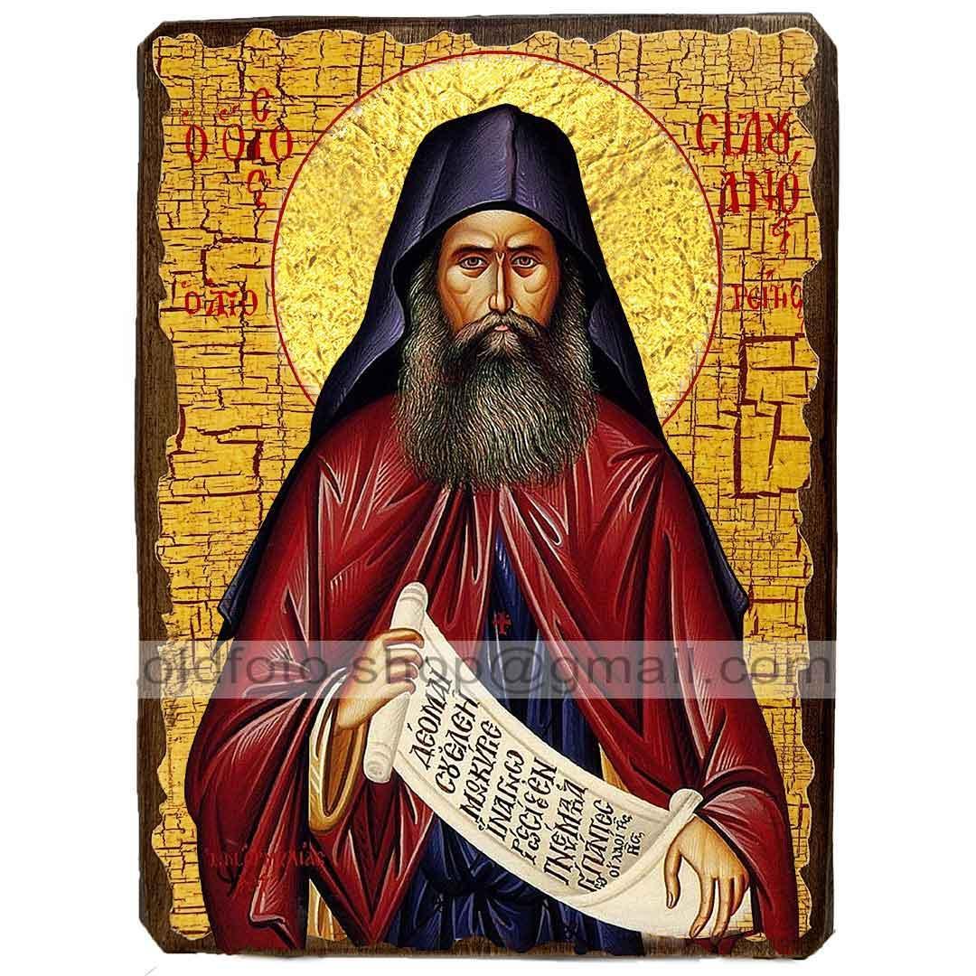 Икона Силуан Преподобный Афонский ,на дереве