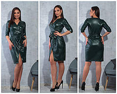 Платье  БАТАЛ экокожа в расцветках 757163