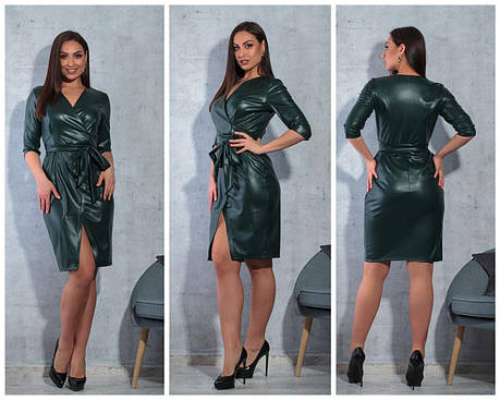 Платье  БАТАЛ экокожа в расцветках 757163, фото 2
