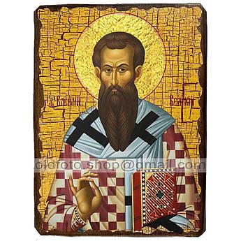 Икона Василий Святитель Великий ,икона на дереве 130х170 мм