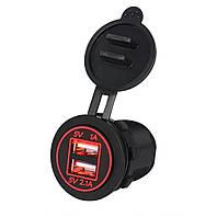 Автомобільний врізний адаптер 12v, 24v / 2 USB / 2.1+1A (червона підсвітка, з різьбленням), фото 1