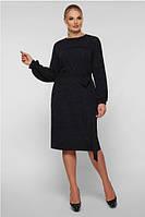 Женское платье с длинным рукавом нарядное большого размера 50-58 р синий