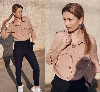 """Женская стильная рубашка 8011 """"Софт Погончики Пуговицы"""" в расцветках"""