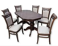 Кухонный гарнитур стол Вальбон 200 (240)+стулья Авенель (6 шт) орех темный