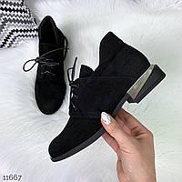 Женские черные туфли натуральная замша на низком ходу Деми