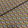 Ткань с розовыми, серыми, жёлтыми, белыми треугольниками, ширина 150 см