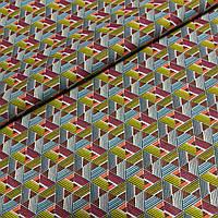 Ткань с розовыми, серыми, жёлтыми, белыми треугольниками, ширина 150 см, фото 1