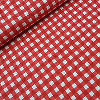 Ткань декоративная с тефлоновой пропиткой в крупную красную клетку, ширина 180 см