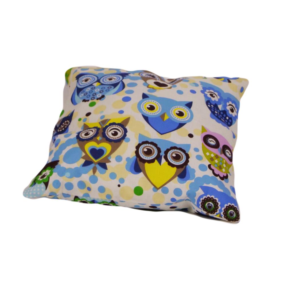 Подушка, 40*40 см, (бавовна), (казкові сови блакитні)