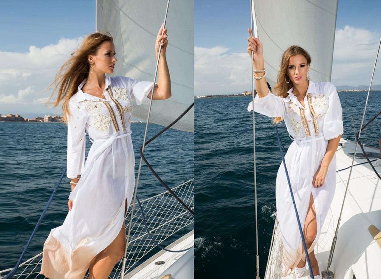 Летнее длинное  платье-рубашка с отложным  воротником  из  натурального хлопка 1211
