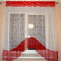 """Тюль для кухни аркой готовая с кружевом фатин 3 м белый с красным """"Купалинка"""""""
