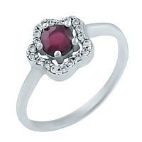 Серебряное кольцо  с натуральным рубином