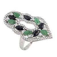 Серебряное кольцо  с натуральным изумрудом, сапфиром