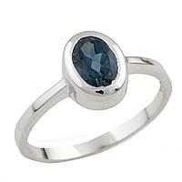 Серебряное кольцо  с натуральным топазом Лондон Блю