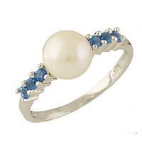 Серебряное кольцо Unicorn с натуральным жемчугом, топазом Лондон Блю (0707754) 16.5 размер